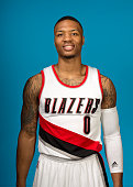Damian Lillard of the Portland Trail Blazers poses for a photo during Media Day on September 29 2014 at the Moda Center Arena in Portland Oregon NOTE...