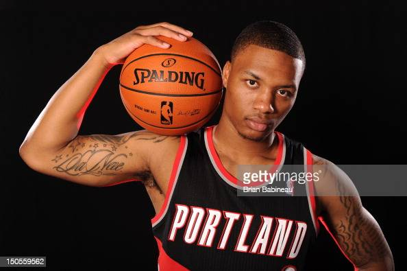 Damian Lillard of the Portland Trail Blazers poses for a portrait during the 2012 NBA rookie photo shoot on August 21 2012 at the MSG Training...