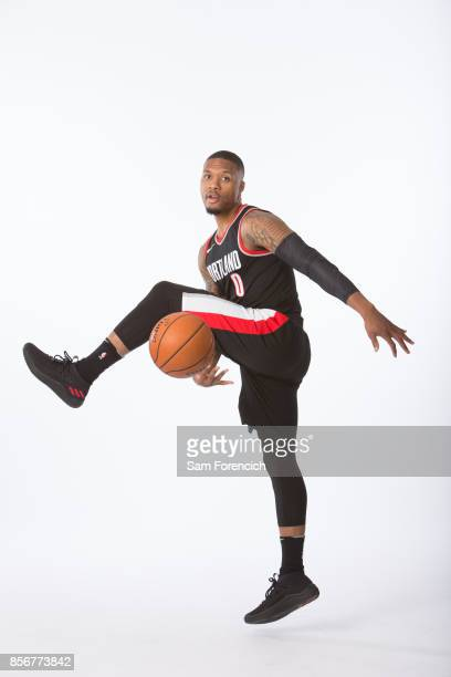 Damian Lillard of the Portland Trail Blazers poses for a portrait during the 201718 NBA Media Day on September 25 2015 at the Moda Center in Portland...