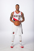 Damian Lillard of the Portland Trail Blazers poses for photos during the annual Media Day September 28 2015 at the Moda Center in Portland Oregon...