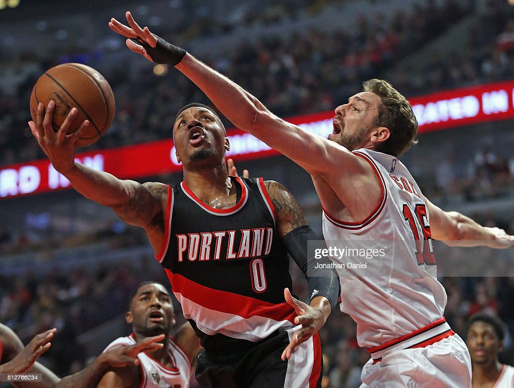 <a gi-track='captionPersonalityLinkClicked' href=/galleries/search?phrase=Damian+Lillard&family=editorial&specificpeople=6598327 ng-click='$event.stopPropagation()'>Damian Lillard</a> #0 of the Portland Trail Blazers puts up a shot against <a gi-track='captionPersonalityLinkClicked' href=/galleries/search?phrase=Pau+Gasol&family=editorial&specificpeople=201587 ng-click='$event.stopPropagation()'>Pau Gasol</a> #16 of the Chicago Bulls at the United Center on February 27, 2016 in Chicago, Illinois.