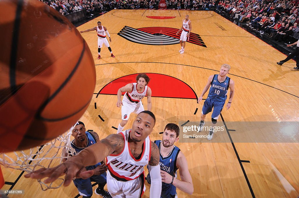 Damian Lillard #0 of the Portland Trail Blazers puts up a shot during a game against the Minnesota Timberwolves on February 23, 2014 at the Moda Center Arena in Portland, Oregon.