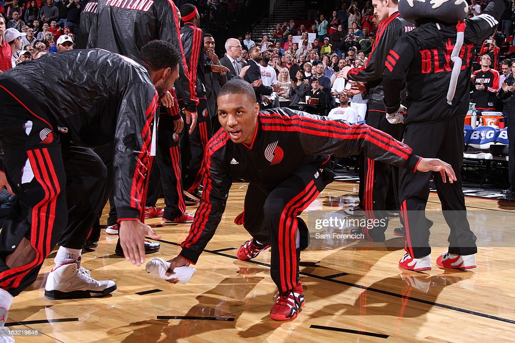 <a gi-track='captionPersonalityLinkClicked' href=/galleries/search?phrase=Damian+Lillard&family=editorial&specificpeople=6598327 ng-click='$event.stopPropagation()'>Damian Lillard</a> #0 of the Portland Trail Blazers runs out before the game against the Denver Nuggets on February 27, 2013 at the Rose Garden Arena in Portland, Oregon.