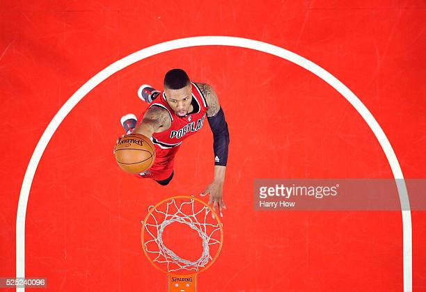 Damian Lillard of the Portland Trail Blazers scores on a dunk in a 10898 win over the Los Angeles Clippers during Game Five of the Western Conference...