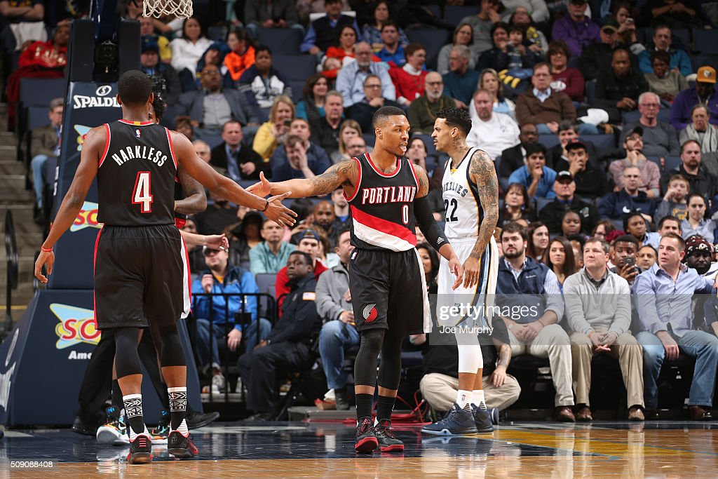 <a gi-track='captionPersonalityLinkClicked' href=/galleries/search?phrase=Damian+Lillard&family=editorial&specificpeople=6598327 ng-click='$event.stopPropagation()'>Damian Lillard</a> #0 of the Portland Trail Blazers shakes hands with Maurice Harkless #4 of the Portland Trail Blazers during the game against the Memphis Grizzlies on February 8, 2016 at FedExForum in Memphis, Tennessee.