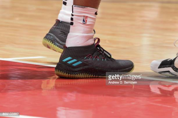 Damian Lillard of the Portland Trail Blazers shoes during the 2017 NBA PreSeason game against the LA Clippers on October 8 2017 at STAPLES Center in...