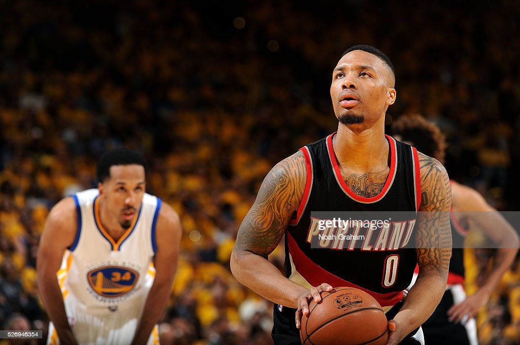 Damian Lillard #0 of the Portland Trail Blazers shoots a free throw during the game against the Golden State Warriors in Game One of the Western Conference Semifinals during the 2016 NBA Playoffs on May 1, 2016 at ORACLE Arena in Oakland, California.