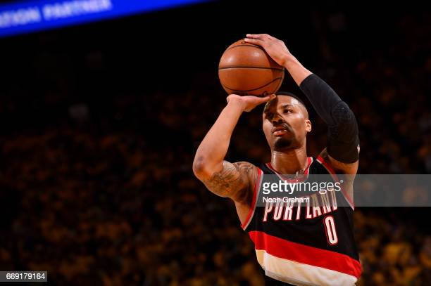 Damian Lillard of the Portland Trail Blazers shoots a free throw against the Golden State Warriors during the Western Conference Quarterfinals of the...