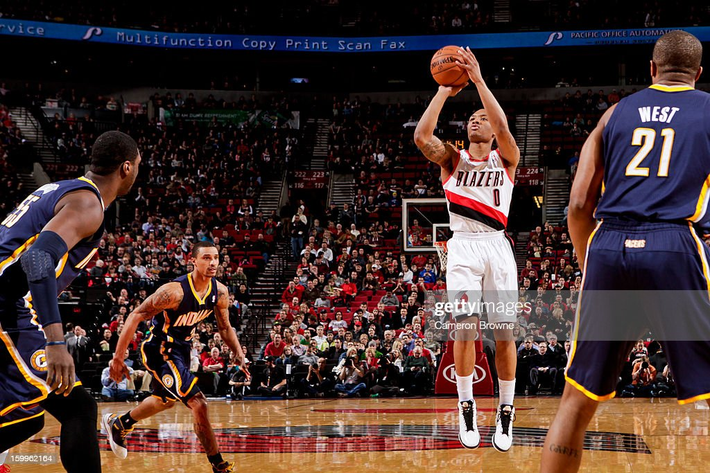 Damian Lillard #0 of the Portland Trail Blazers shoots a three-pointer against the Indiana Pacers on January 23, 2013 at the Rose Garden Arena in Portland, Oregon.