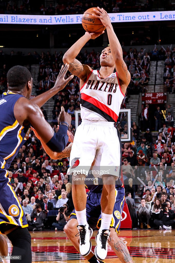 Damian Lillard #0 of the Portland Trail Blazers shoots against the Indiana Pacers on January 23, 2013 at the Rose Garden Arena in Portland, Oregon.
