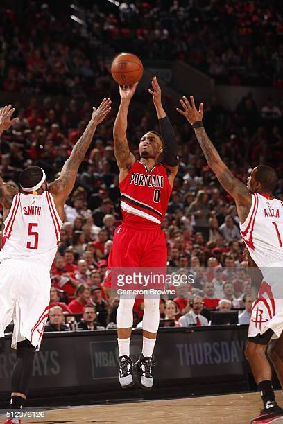 Damian Lillard of the Portland Trail Blazers shoots against the Houston Rockets on February 25 2016 at the Moda Center in Portland Oregon NOTE TO...
