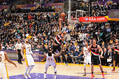 Damian Lillard of the Portland Trail Blazers shoots the ball against the Los Angeles Lakers during the game on January 11 2015 at STAPLES Center in...