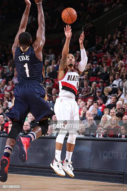 Damian Lillard of the Portland Trail Blazers shoots the ball against the New Orleans Pelicans on December 14 2015 at the Moda Center in Portland...
