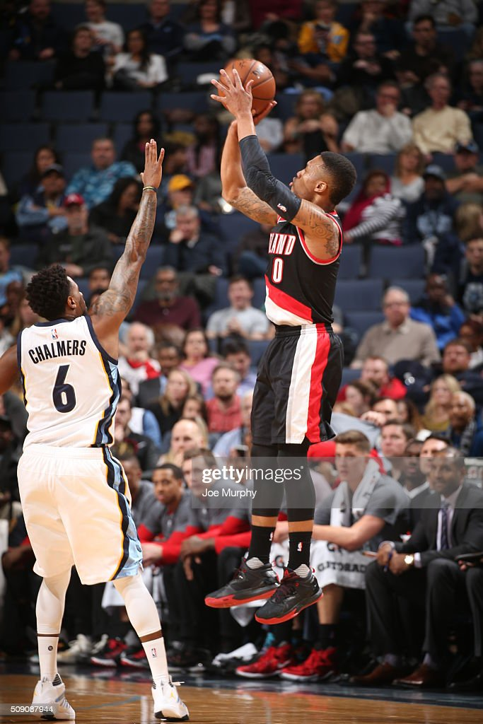 <a gi-track='captionPersonalityLinkClicked' href=/galleries/search?phrase=Damian+Lillard&family=editorial&specificpeople=6598327 ng-click='$event.stopPropagation()'>Damian Lillard</a> #0 of the Portland Trail Blazers shoots the ball against the Memphis Grizzlies on February 8, 2016 at FedExForum in Memphis, Tennessee.