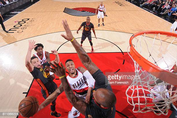 Damian Lillard of the Portland Trail Blazers shoots the ball against the Golden State Warriors on February 19 2016 at the Moda Center in Portland...