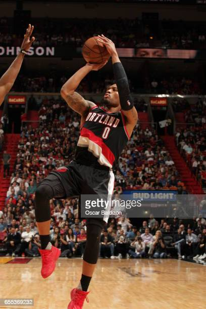 Damian Lillard of the Portland Trail Blazers shoots the ball against the Miami Heat on March 19 2017 at AmericanAirlines Arena in Miami Florida NOTE...