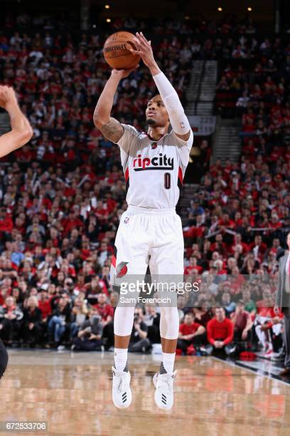 Damian Lillard of the Portland Trail Blazers shoots the ball against the Golden State Warriors during Game Four of the Western Conference...