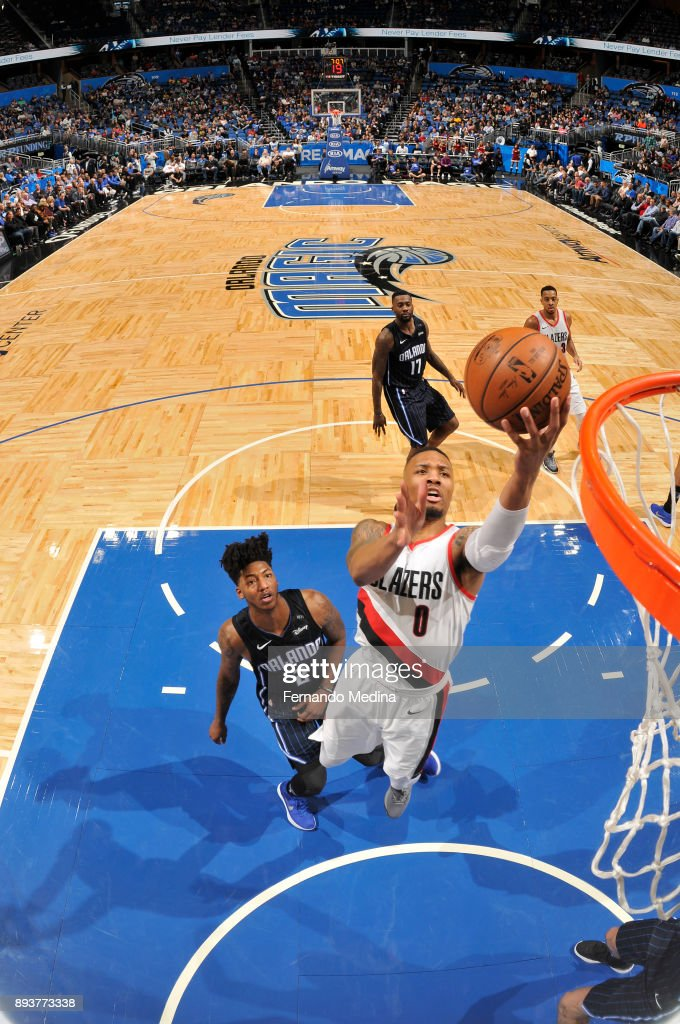 Damian Lillard #0 of the Portland Trail Blazers shoots the ball against the Orlando Magic on December 15, 2017 at Amway Center in Orlando, Florida.