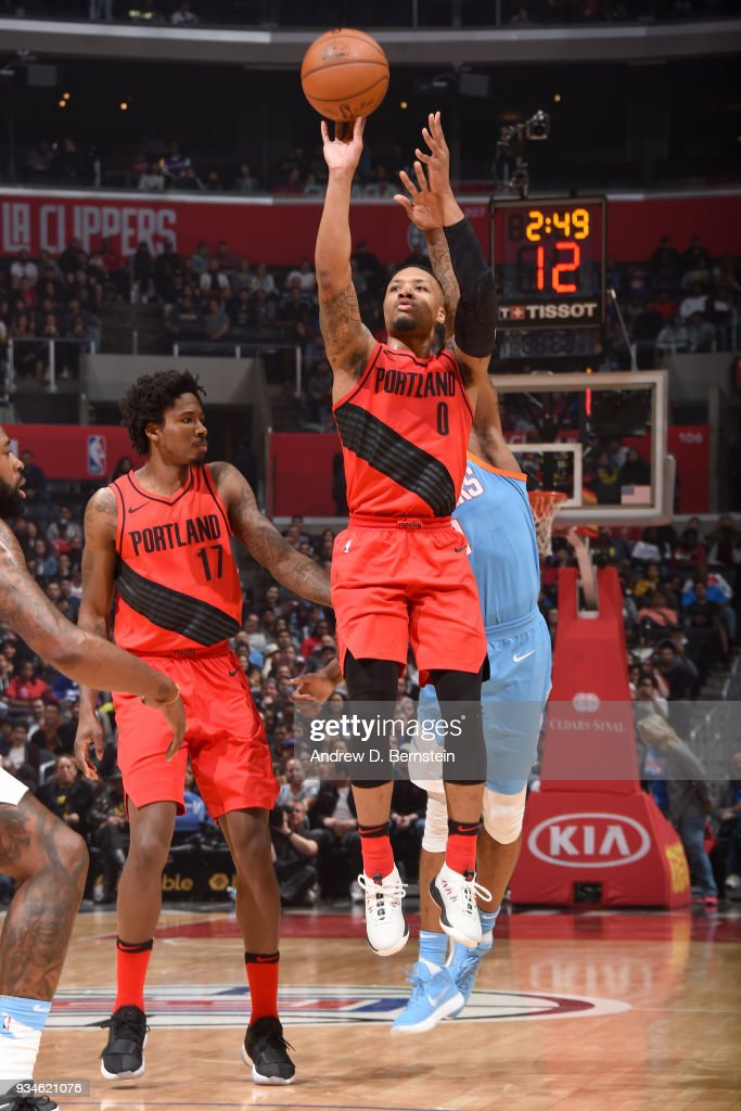 Damian Lillard #0 of the Portland Trail Blazers shoots the ball against the LA Clippers on March 18, 2018 at STAPLES Center in Los Angeles, California.