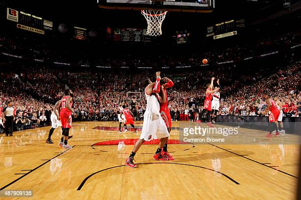 Damian Lillard of the Portland Trail Blazers shoots the game winning shot to take his team to the Semi Finals against the Houston Rockets in Game Six...