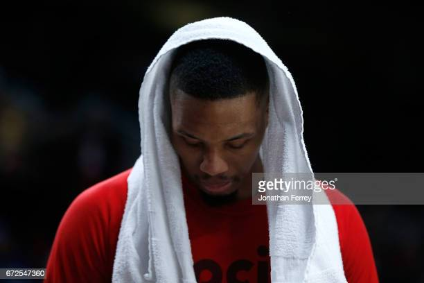 Damian Lillard of the Portland Trail Blazers shows his dejection against the Golden State Warriors during Game Four of the Western Conference...
