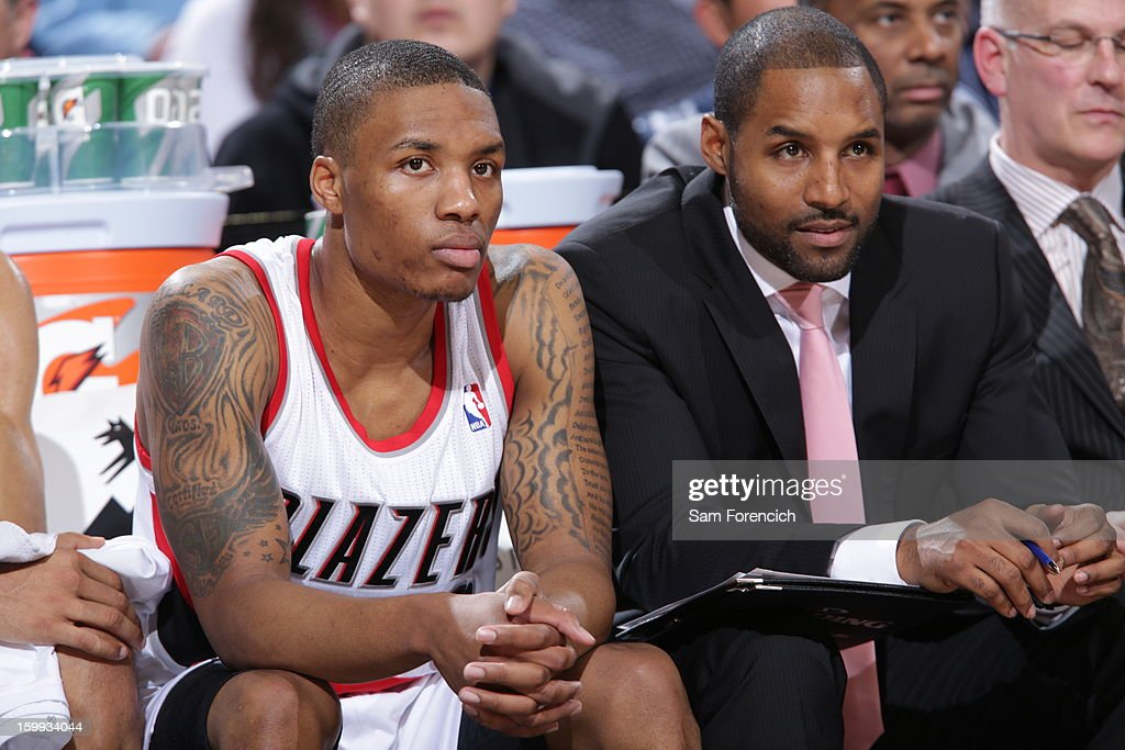 <a gi-track='captionPersonalityLinkClicked' href=/galleries/search?phrase=Damian+Lillard&family=editorial&specificpeople=6598327 ng-click='$event.stopPropagation()'>Damian Lillard</a> #0 of the Portland Trail Blazers sits on the bench in the game against the Cleveland Cavaliers on January 16, 2013 at the Rose Garden Arena in Portland, Oregon.