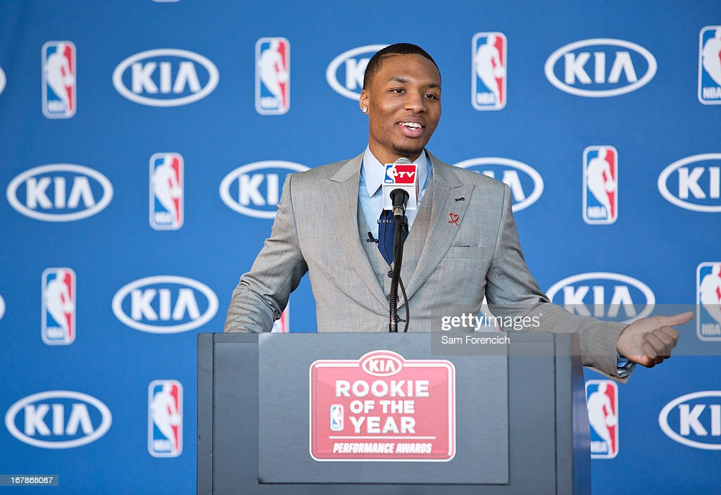 Damian Lillard #0 of the Portland Trail Blazers speaks during a press conference after winning the 2012-2013 Kia NBA Rookie of the Year award on May 1, 2013 at the Rose Garden Arena in Portland, Oregon.