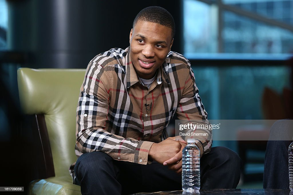 Damian Lillard #0 of the Portland Trail Blazers speaks during the Rookie Roundtable as part of the 2013 NBA All-Star Weekend at the Hilton Americas Hotel on February 14, 2013 in Houston, Texas.