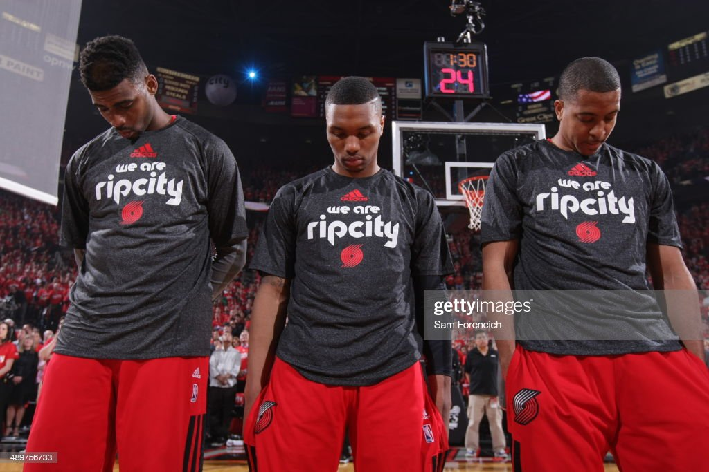 <a gi-track='captionPersonalityLinkClicked' href=/galleries/search?phrase=Damian+Lillard&family=editorial&specificpeople=6598327 ng-click='$event.stopPropagation()'>Damian Lillard</a> #0 of the Portland Trail Blazers stands on the court before Game Three of the Western Conference Semifinals during the 2014 NBA Playoffs on May 10, 2014 at the Moda Center in Portland, Oregon.