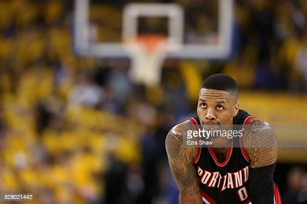Damian Lillard of the Portland Trail Blazers stands on the court during their game against the Golden State Warriors in Game Two of the Western...