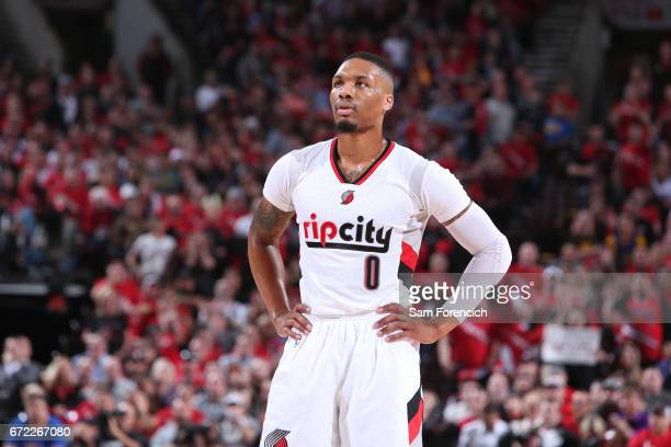 Damian Lillard of the Portland Trail Blazers stands on the court against the Golden State Warriors in Game Three of the Western Conference...