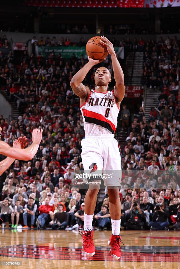 Damian Lillard #0 of the Portland Trail Blazers takes a jump shot against the Chicago Bulls on November 18, 2012 at the Rose Garden Arena in Portland, Oregon.