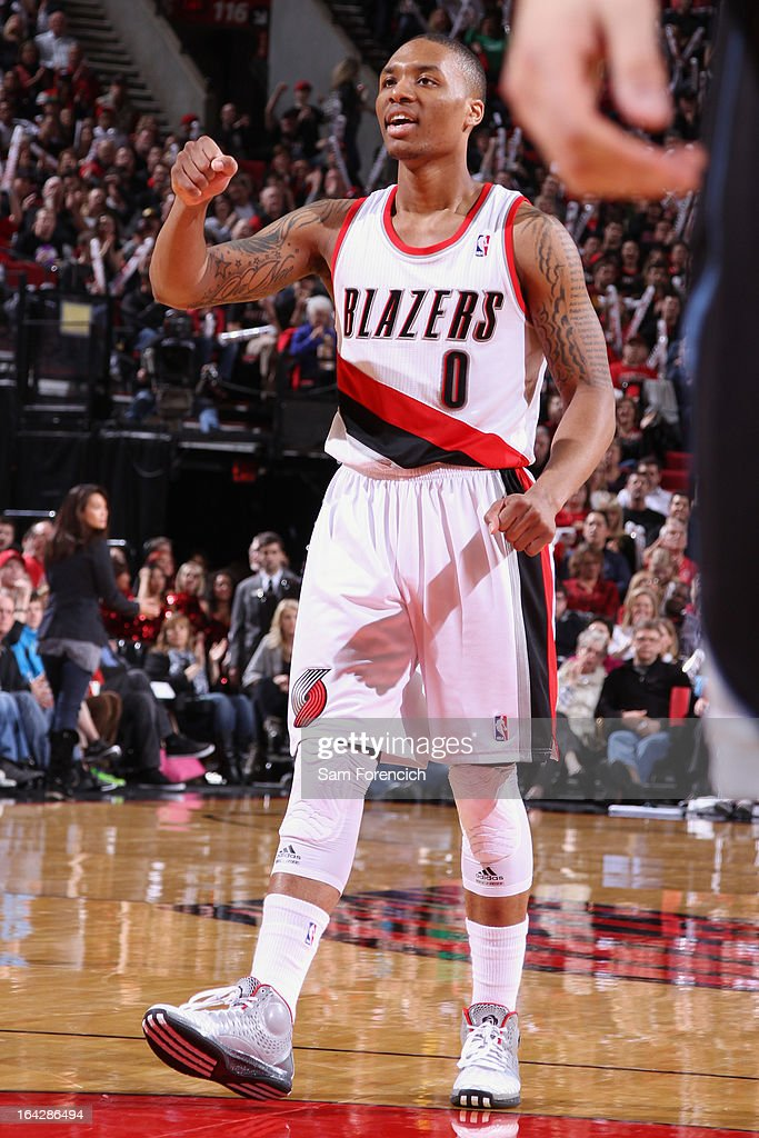 <a gi-track='captionPersonalityLinkClicked' href=/galleries/search?phrase=Damian+Lillard&family=editorial&specificpeople=6598327 ng-click='$event.stopPropagation()'>Damian Lillard</a> #0 of the Portland Trail Blazers walks to the foul line during the game against the Minnesota Timberwolves on March 2, 2013 at the Rose Garden Arena in Portland, Oregon.