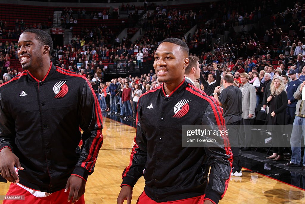 <a gi-track='captionPersonalityLinkClicked' href=/galleries/search?phrase=Damian+Lillard&family=editorial&specificpeople=6598327 ng-click='$event.stopPropagation()'>Damian Lillard</a> #0 of the Portland Trail Blazers warms up before the game against the Los Angeles Clippers on October 7, 2013 at the Moda Center Arena in Portland, Oregon.