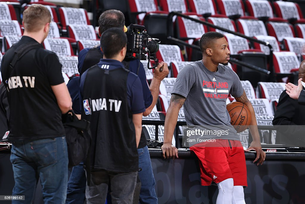 Damian Lillard #0 of the Portland Trail Blazers warms up before the game against the Los Angeles Clippers in Game Six of the Western Conference Quarterfinals during the 2016 NBA Playoffs on April 29, 2016 at the Moda Center in Portland, Oregon.