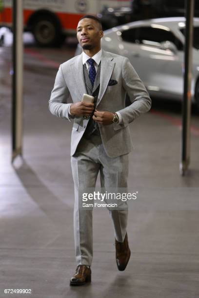 Damian Lillard of the Portland Trailblazers arrives at the arena before the game against the Golden State Warriors during Game Four of the Western...
