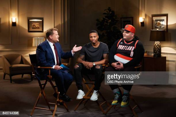 Damian Lillard performs in a sketch with James Corden and Ian Karmel during 'The Late Late Show with James Corden' Friday September 8 2017 On The CBS...