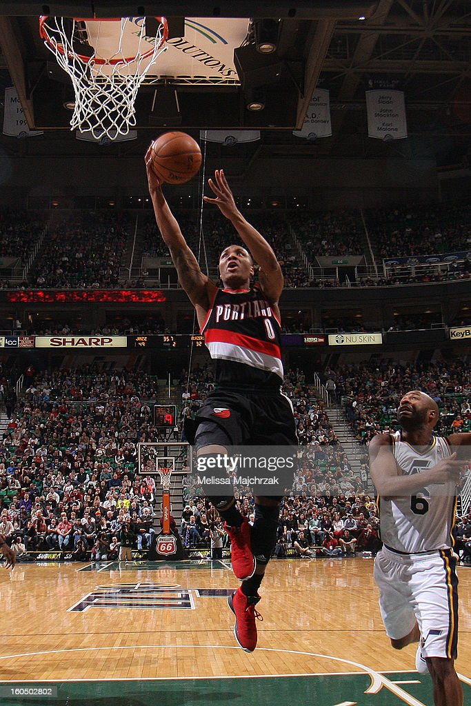 <a gi-track='captionPersonalityLinkClicked' href=/galleries/search?phrase=Damian+Lillard&family=editorial&specificpeople=6598327 ng-click='$event.stopPropagation()'>Damian Lillard</a> #0 Portland Trail Blazers drives to the hoop against the Utah Jazz at Energy Solutions Arena on February 01, 2013 in Salt Lake City, Utah.