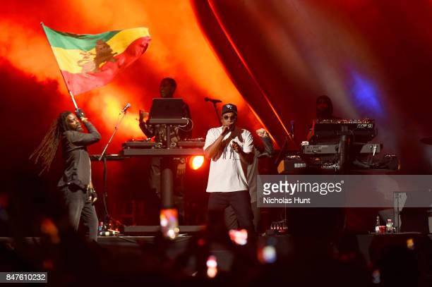 Damian Marley and JAYZ perform onstage during the Meadows Music And Arts Festival Day 1 at Citi Field on September 15 2017 in New York City