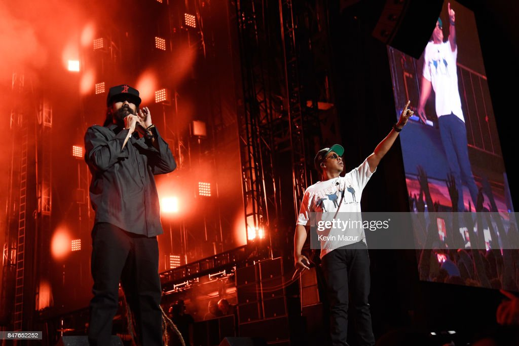 Damian Marley and JAY-Z perform onstage during the Meadows Music And Arts Festival - Day 1 at Citi Field on September 15, 2017 in New York City.