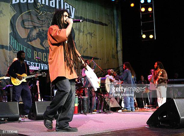 Damian Marley son of Bob Marley performs onstage at the 'Roots Rock Reggae Tour 2004' at the Filene Center August 8 2004 in Vienna Virginia