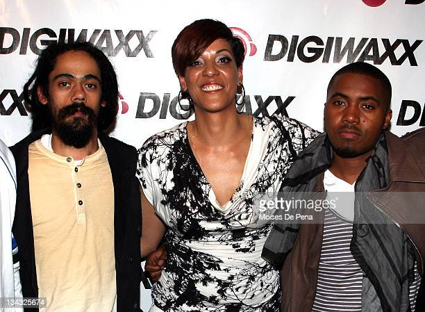 Damian Marley Steph Lova and Nas attend the Music Meeting Listening Session at Digiwaxx Media on April 1 2010 in New York City