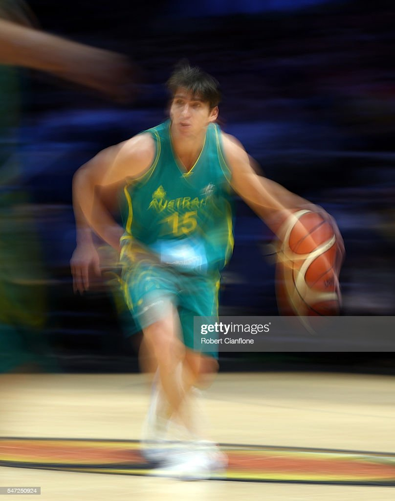 Damian Martin of the Boomers dribbles the ball during the match between the Australian Boomers and the Pac-12 College All-stars at Hisense Arena on July 14, 2016 in Melbourne, Australia.