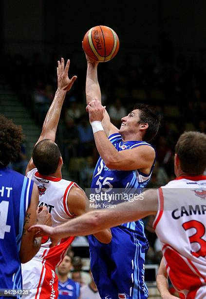 Damian Martin of the Spirit drives to the basket during the round 17 NBL match between the Sydney Spirit and the Wollongong Hawks at the Sydney...