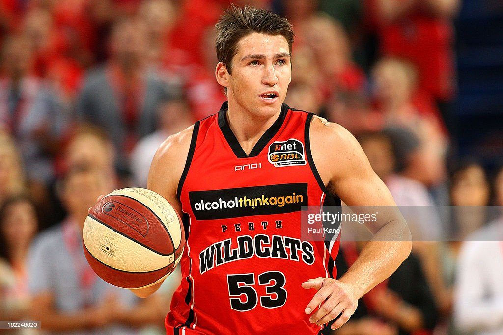 Damian Martin of the Wildcats brings the ball up the court during the round 20 NBL match between the Perth Wildcats and the Melbourne Tigers at Perth Arena on February 21, 2013 in Perth, Australia.