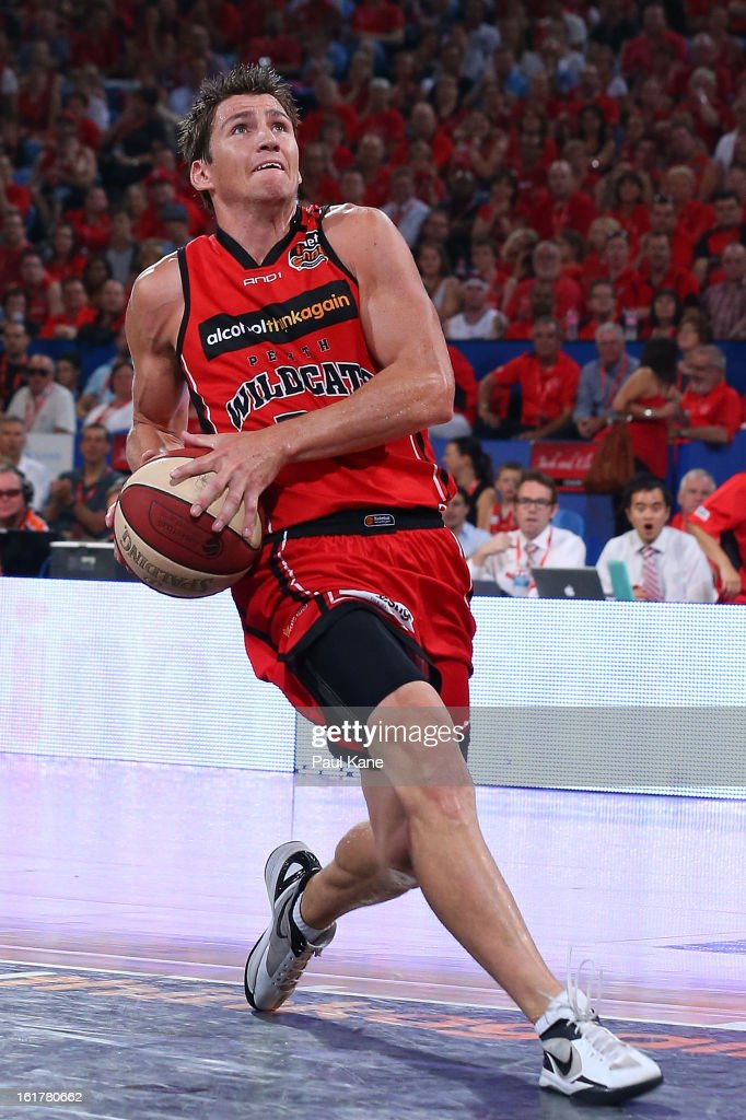 Damian Martin of the Wildcats lays up during the round 19 NBL match between the Perth Wildcats and the Townsville Crocodiles at Perth Arena on February 15, 2013 in Perth, Australia.