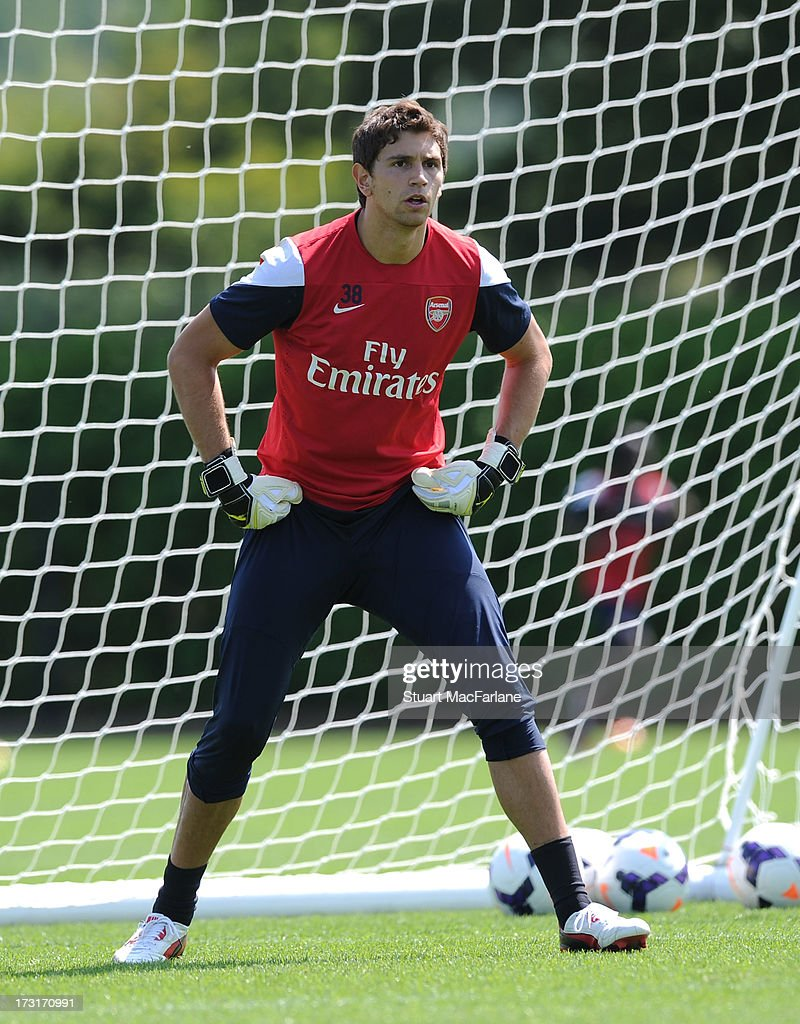 Damian Martinez of Arsenal in action during a training session at London Colney on July 09, 2013 in St Albans, England.