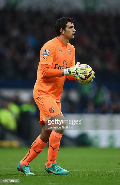 Damian Martinez of Arsenal in action during the Barclays Premier League match between West bromwich Albion and Arsenal at The Hawthorns on November...