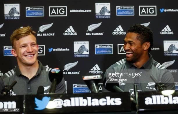 Damian McKenzie and Waisake Naholo of All Blacks laugh during a New Zealand Rugby Championship press conference prior to a match against Argentina at...