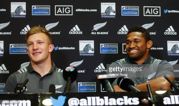 Damian McKenzie and Waisake Naholo of All Blacks smile during a New Zealand Rugby Championship press conference prior to a match against Argentina at...